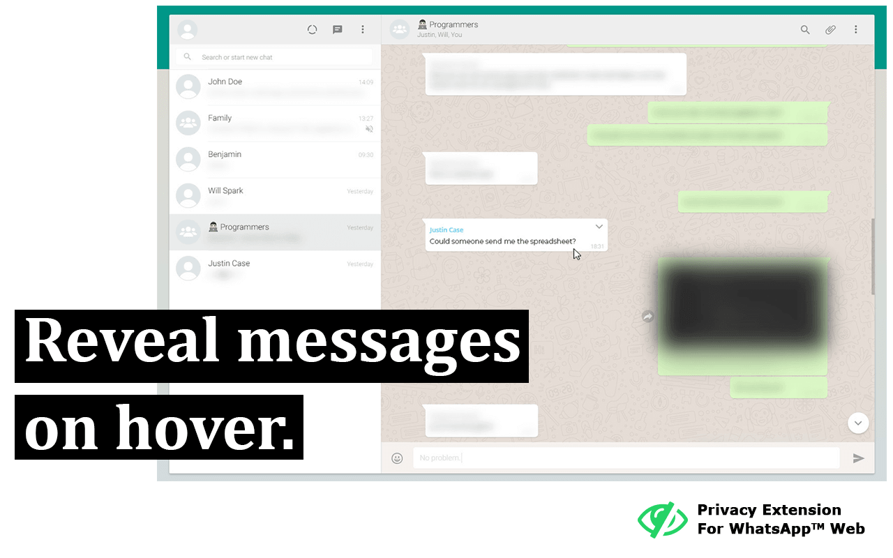 Screenshot: Reveal messages on hover.
