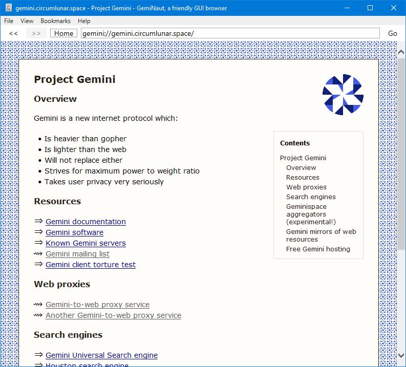 Screenshot of GemiNaut browser