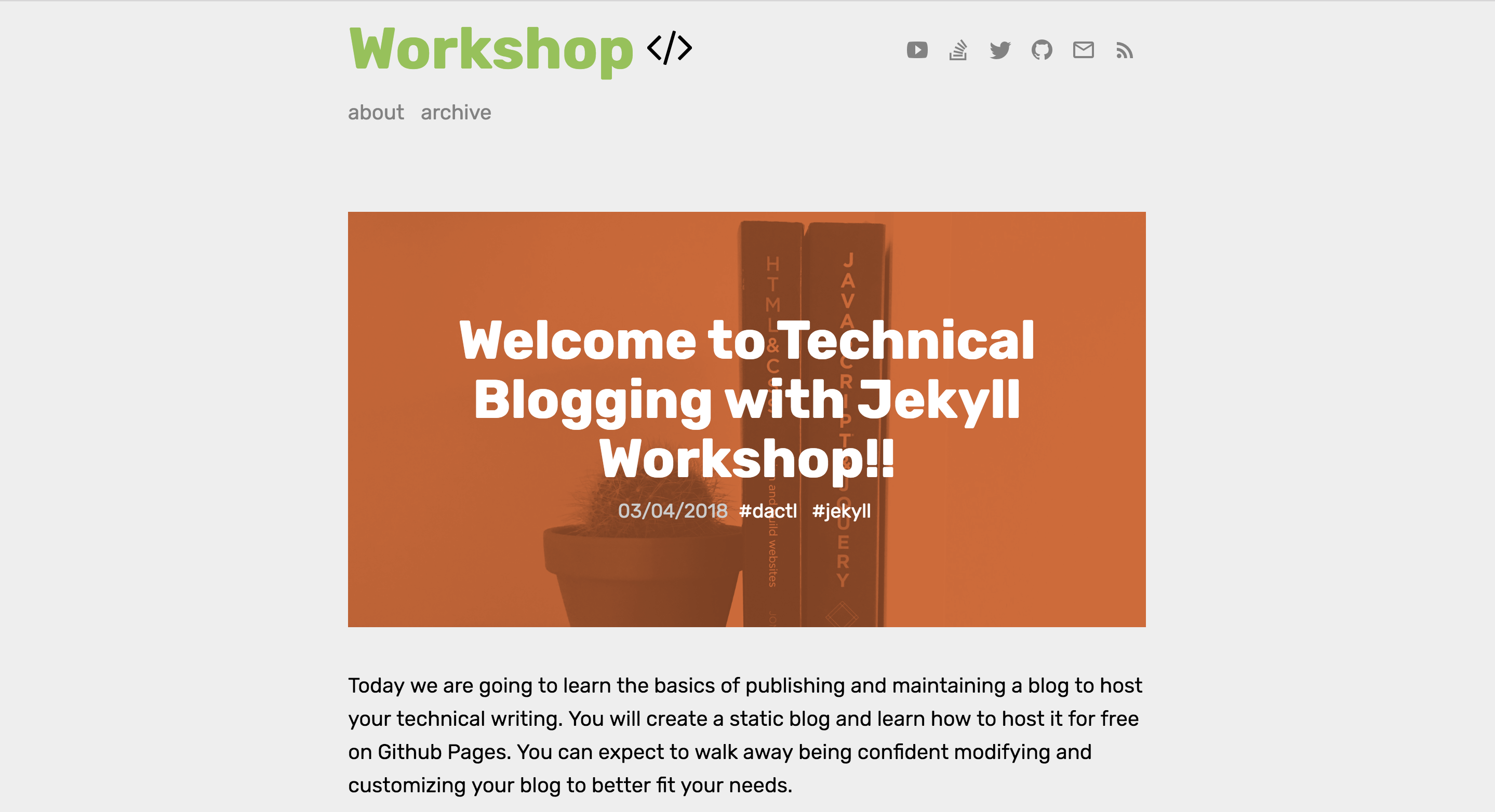 workshop homepage