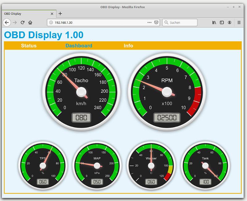 OBD-Display HTML5 Interface