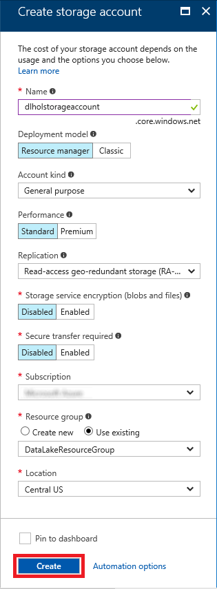 Creating a new storage account