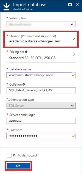 Specifying database import options