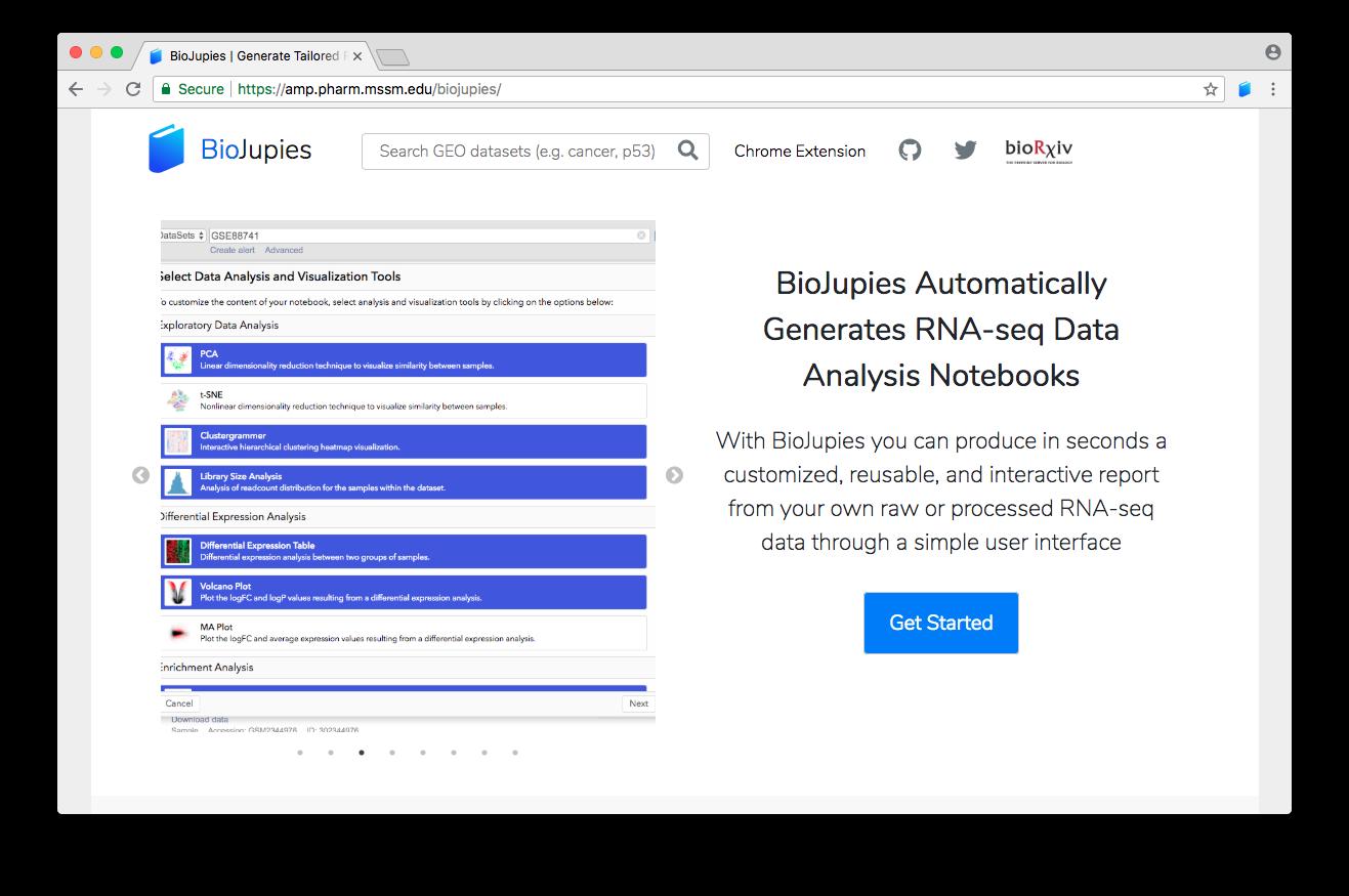 Screenshot of the BioJupies website landing page.