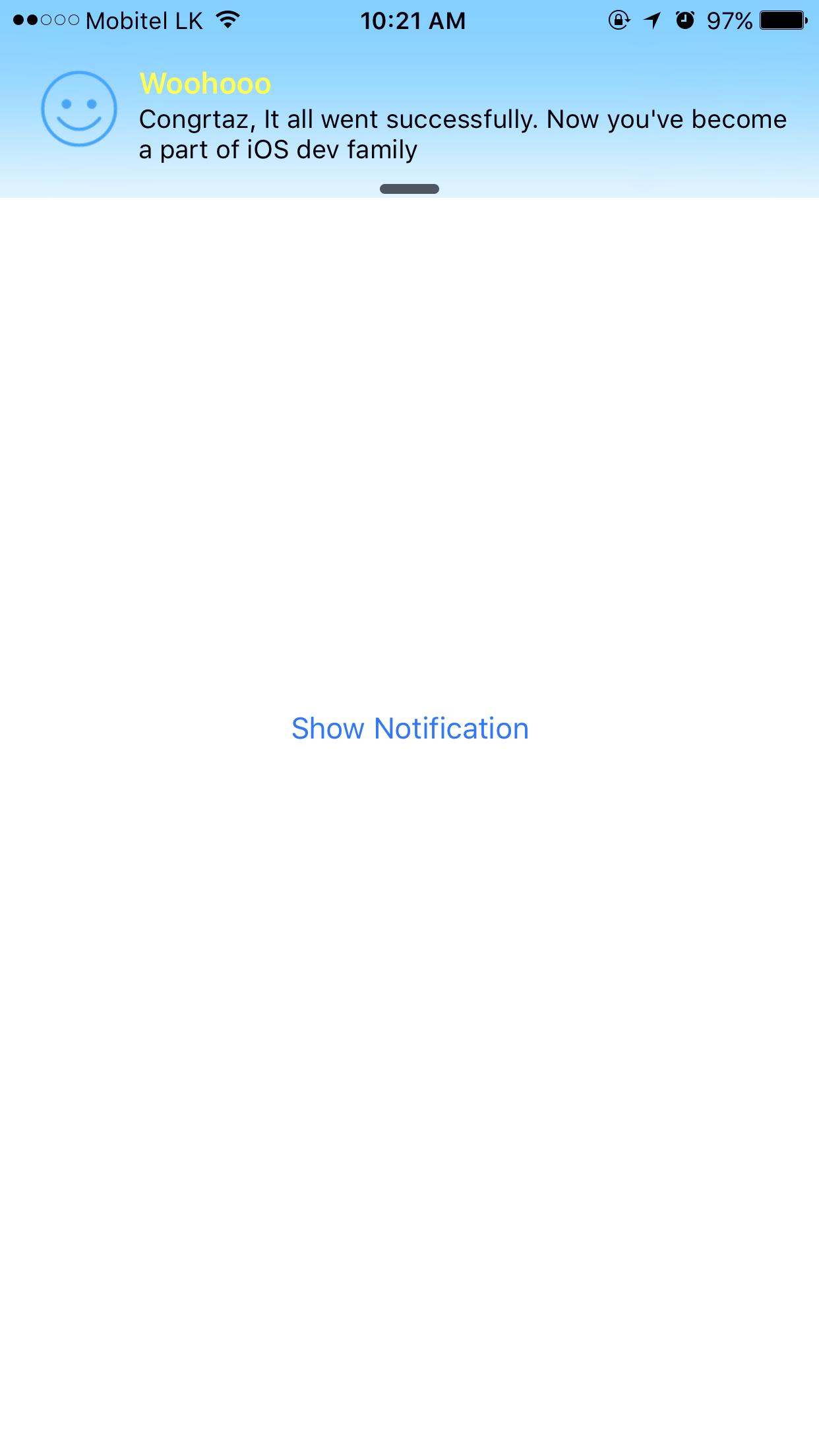 Notification View iPhone Screenshot