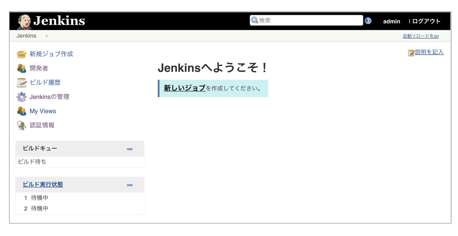 Jenkinsの起動画面