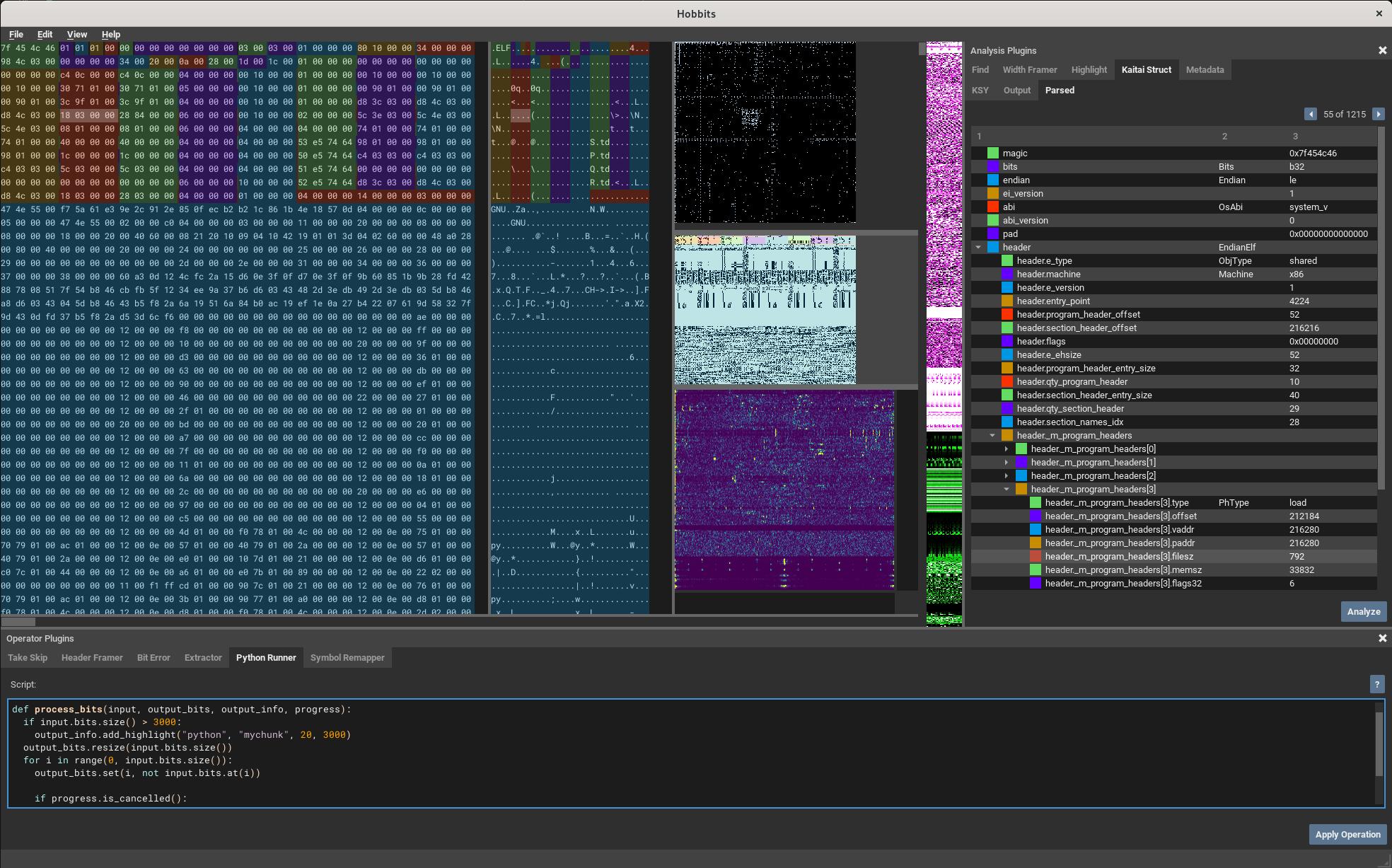 Screenshot of the Hobbits GUI