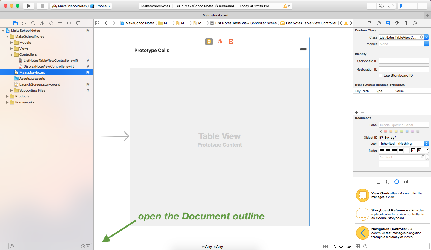 image illustrating how to open the document outline