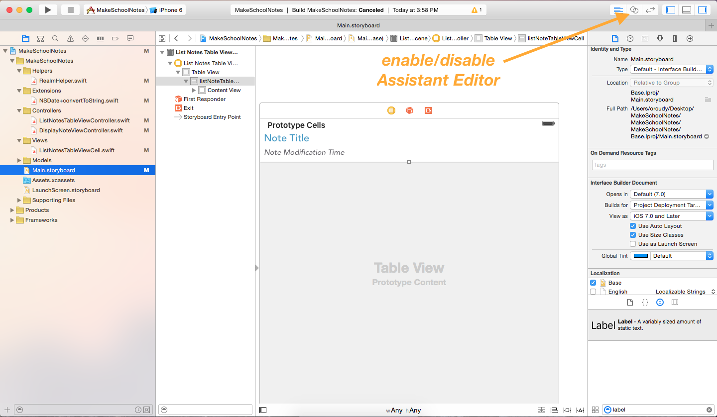 image showing the assistant editor icon