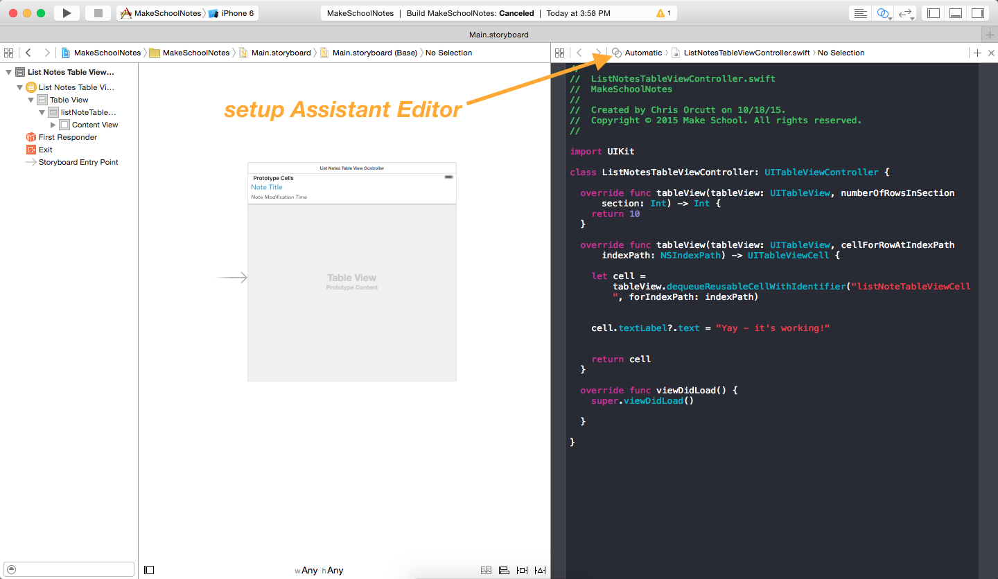 image showing how to setup the assistant editor