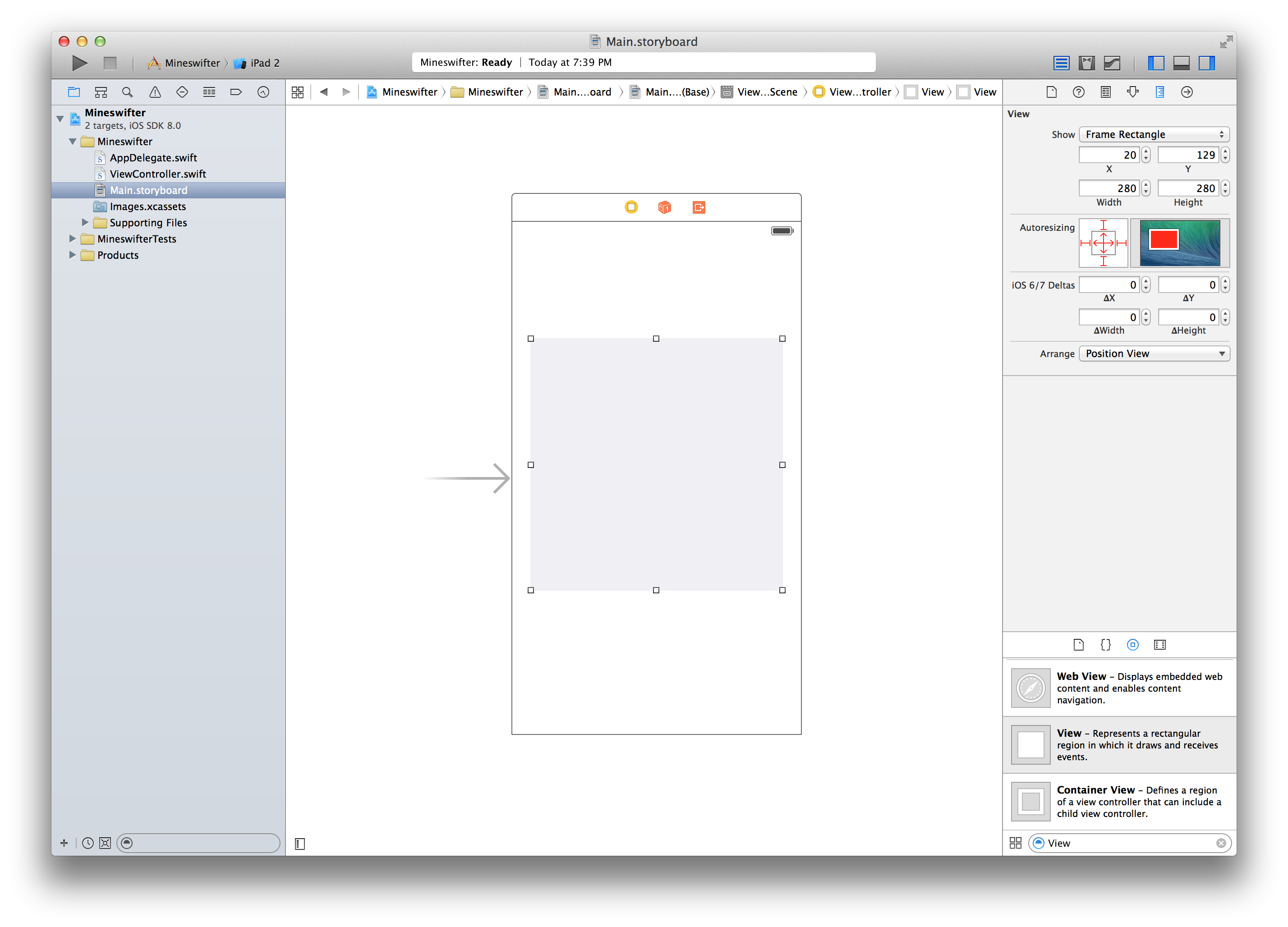Using size inspector in xcode