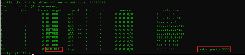add redirect rule to nat.REDSOCKS chain.