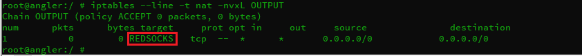apply nat.REDSOCKS on nat.OUTPUT chain.