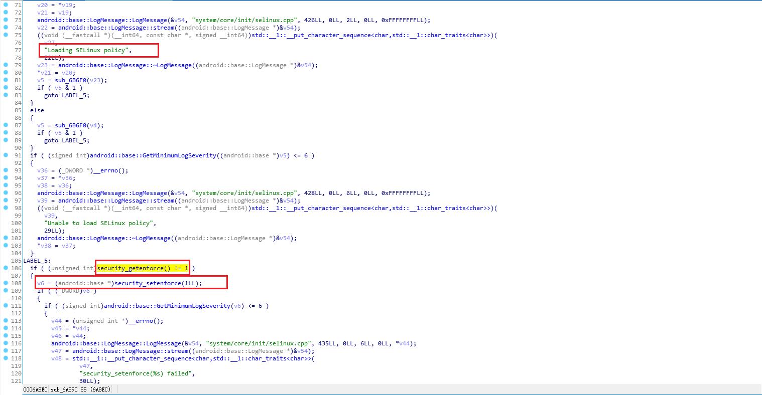 init.SelinuxInitialize security_getenforce