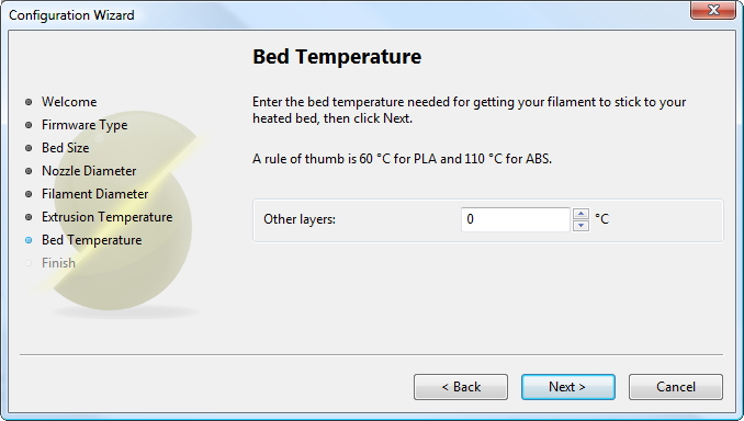 配置助手:热床温度Configuration Wizard: Bed<br/>Temperature