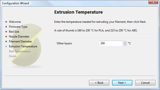 配置助手:挤出温度Configuration Wizard: Extrusion<br/>Temperature
