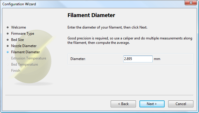 配置助手:物料直径Configuration Wizard: Filament<br/>Diamter