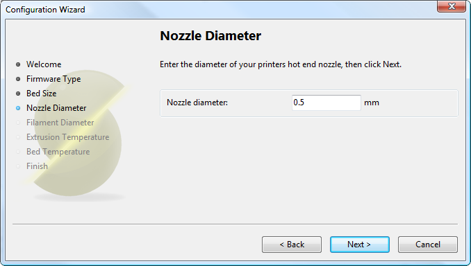 配置助手:挤出头孔径Configuration Wizard: Nozzle<br/>Diameter