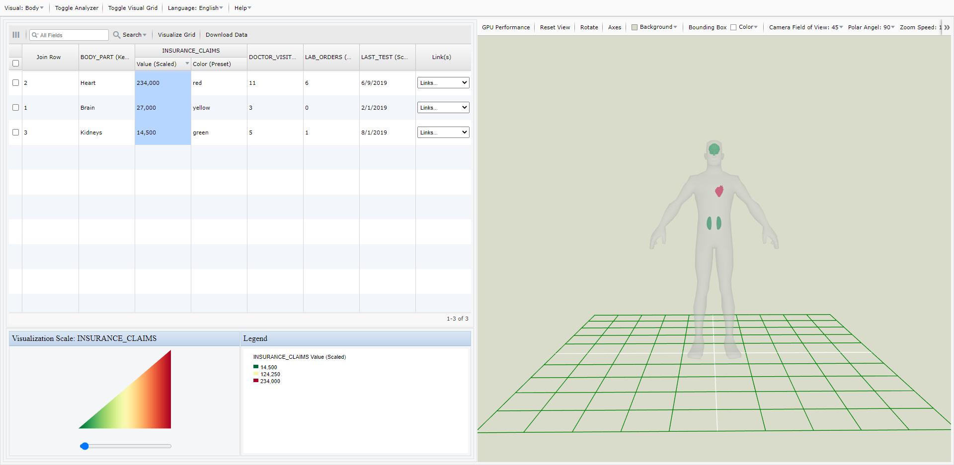 Screen Shot of My Data Visualizer Body Demo