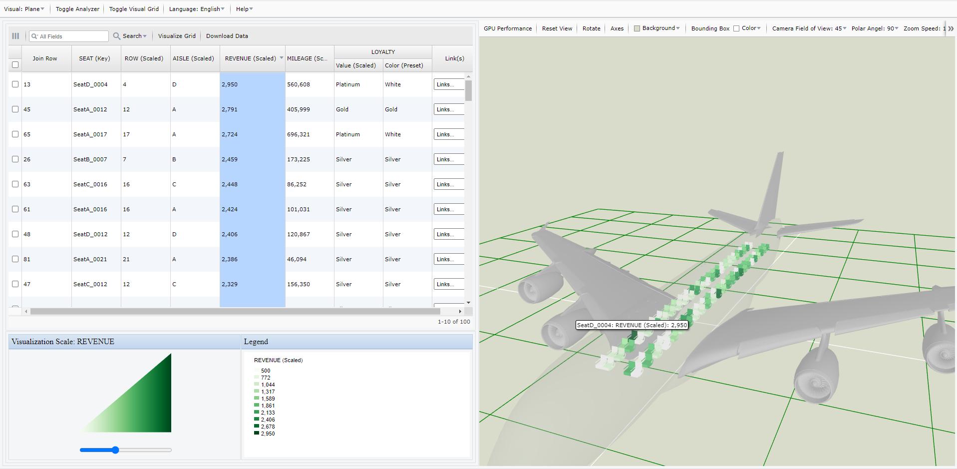 Screen Shot of My Data Visualizer Plane Visualization