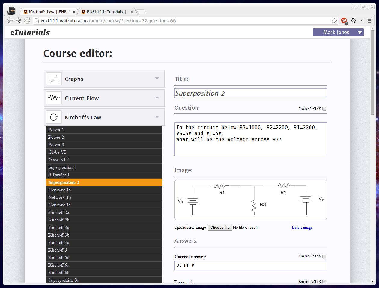 eTutorials course editor screenshot