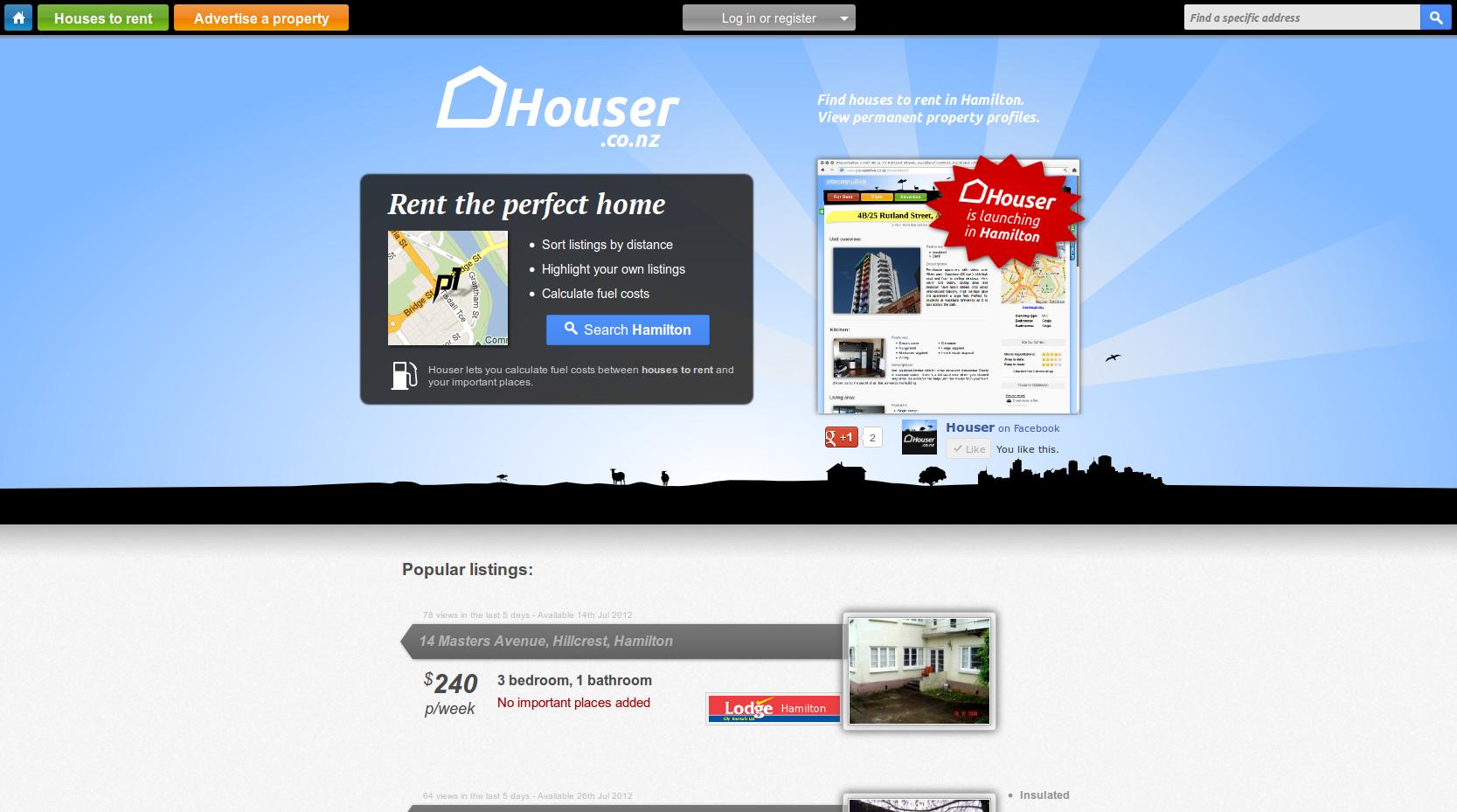 Houser Screenshot Homepage
