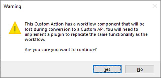 Workflow Conversion Warning