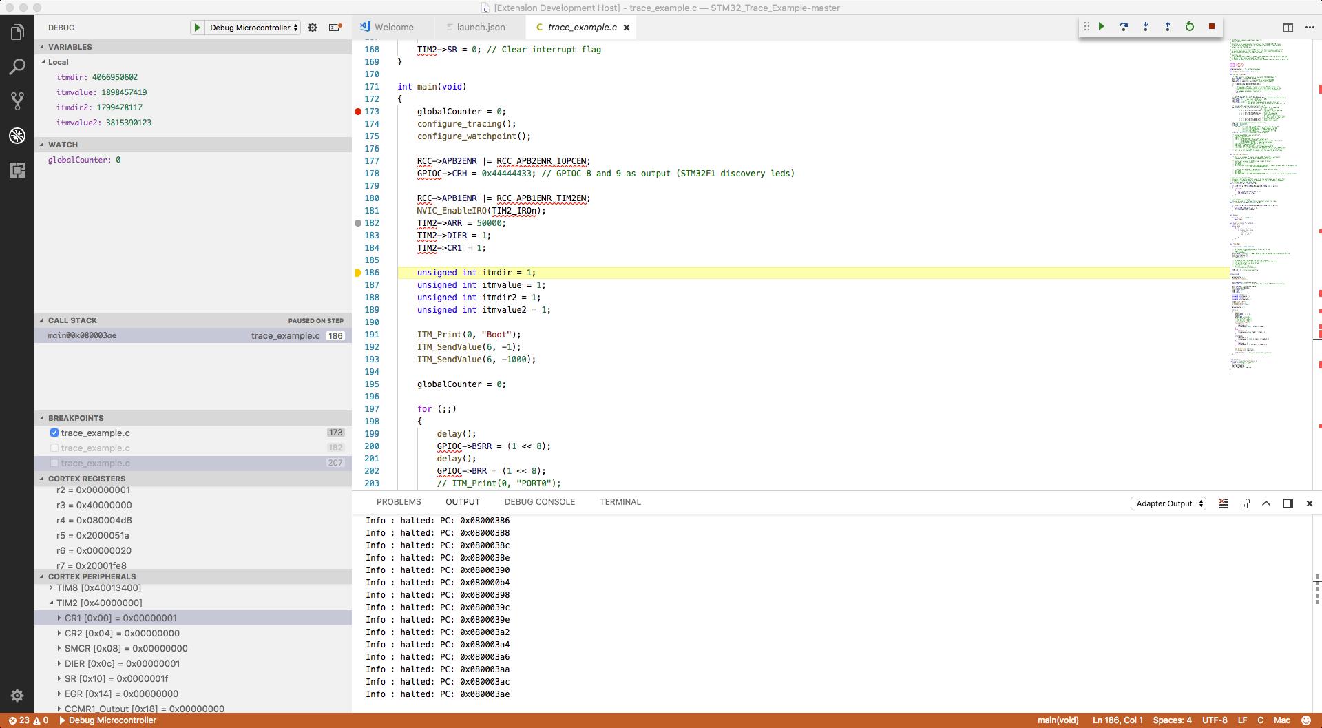 Visual Studio Code with Cortex-Debug Installed
