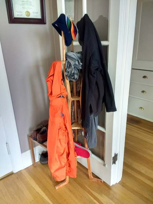 maslow coat rack in use