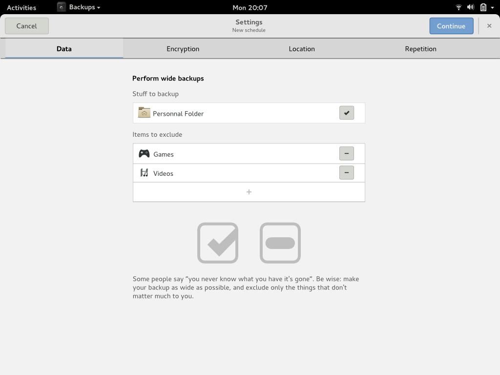 Backups settings - data
