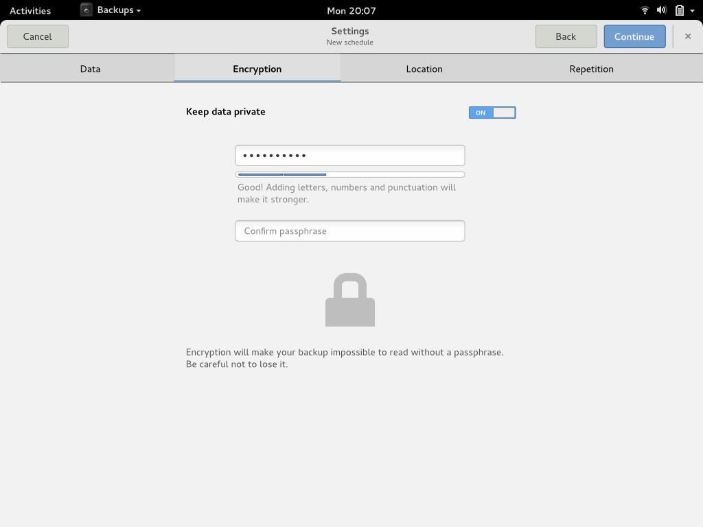 Backups settings - encryption