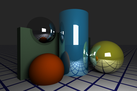 Raytraced Image with reflective materials and area lights