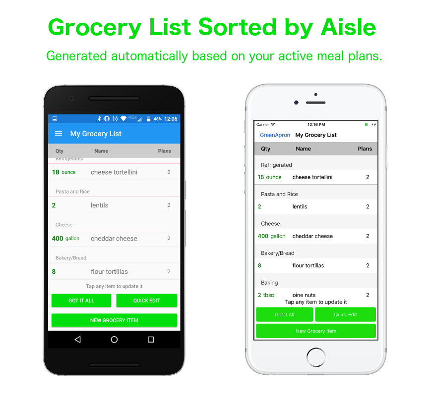 Green Apron manages your grocery list