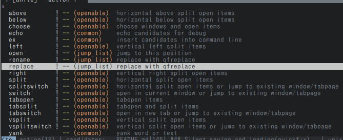 A screenshot of action list of vim-bookmarks' Unite interface