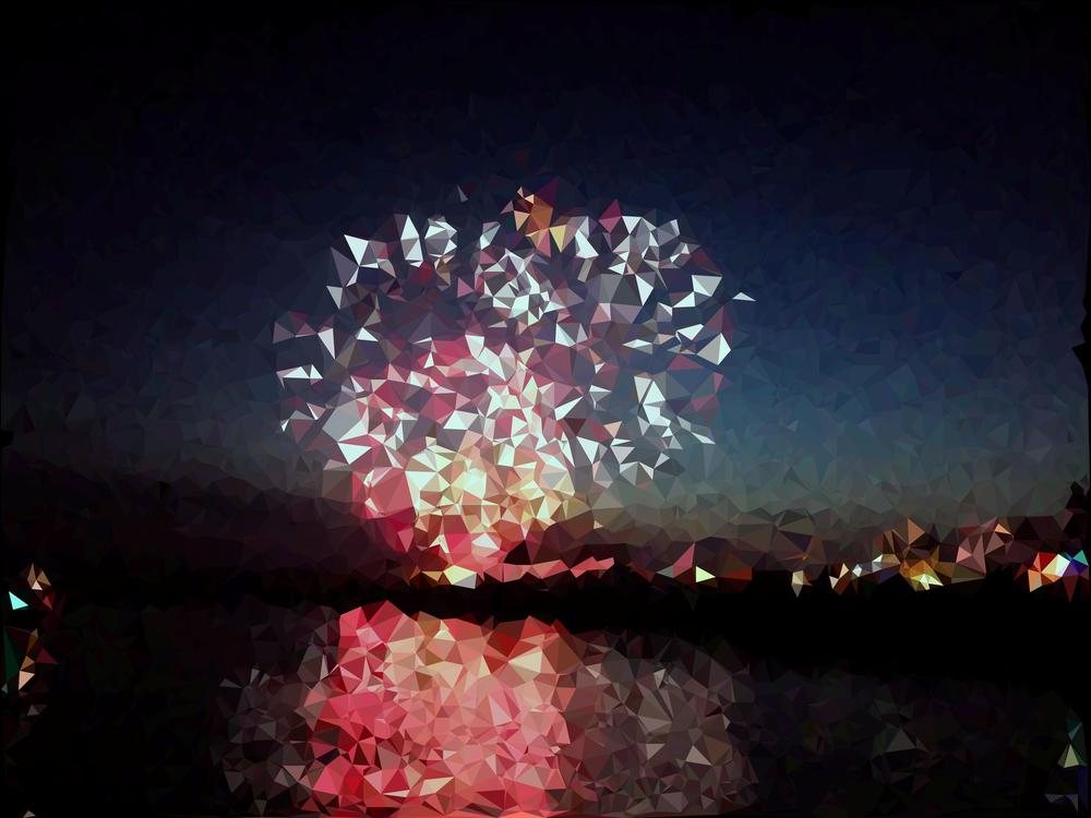 Image of a triangulation of a photo of some fireworks