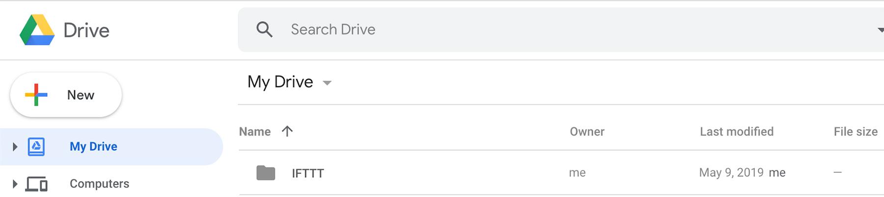IFTTT Google Drive folder