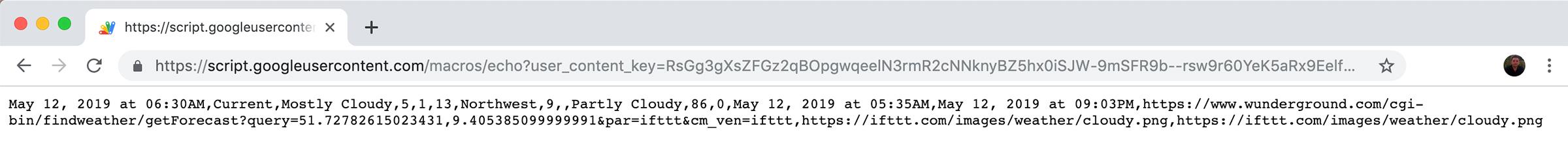 IFTTT Weather Google script output csv