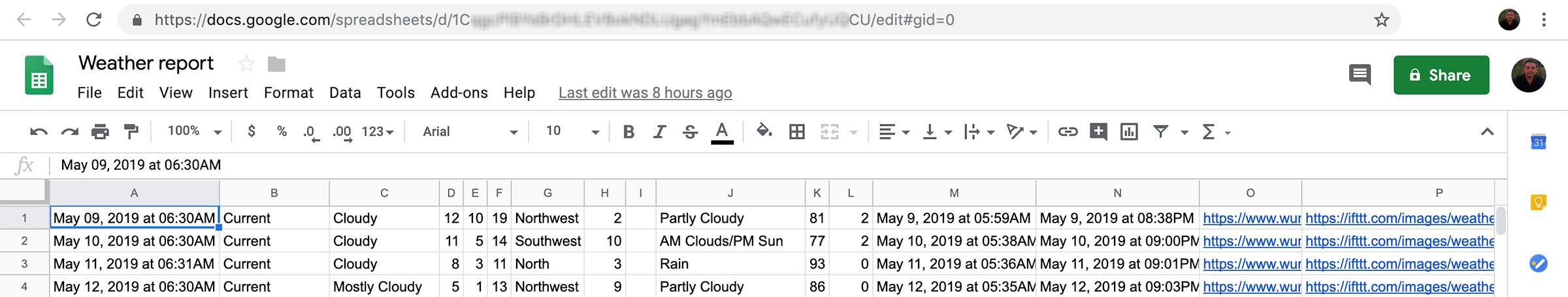 IFTTT Weather Google script sheet data