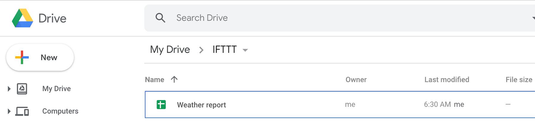 IFTTT Google Spreadsheet