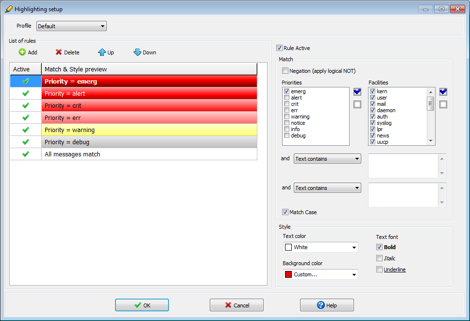 Visual Syslog Server for Windows color highlighting