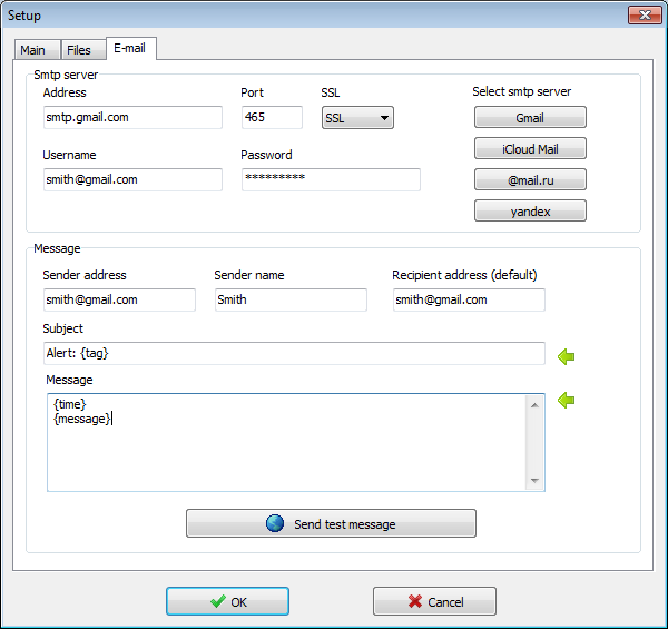 Visual Syslog Server for Windows smtp server setup