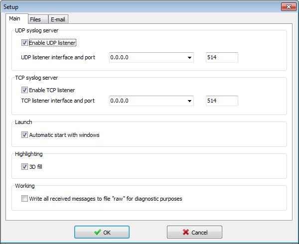 Visual Syslog Server for Windows main setup