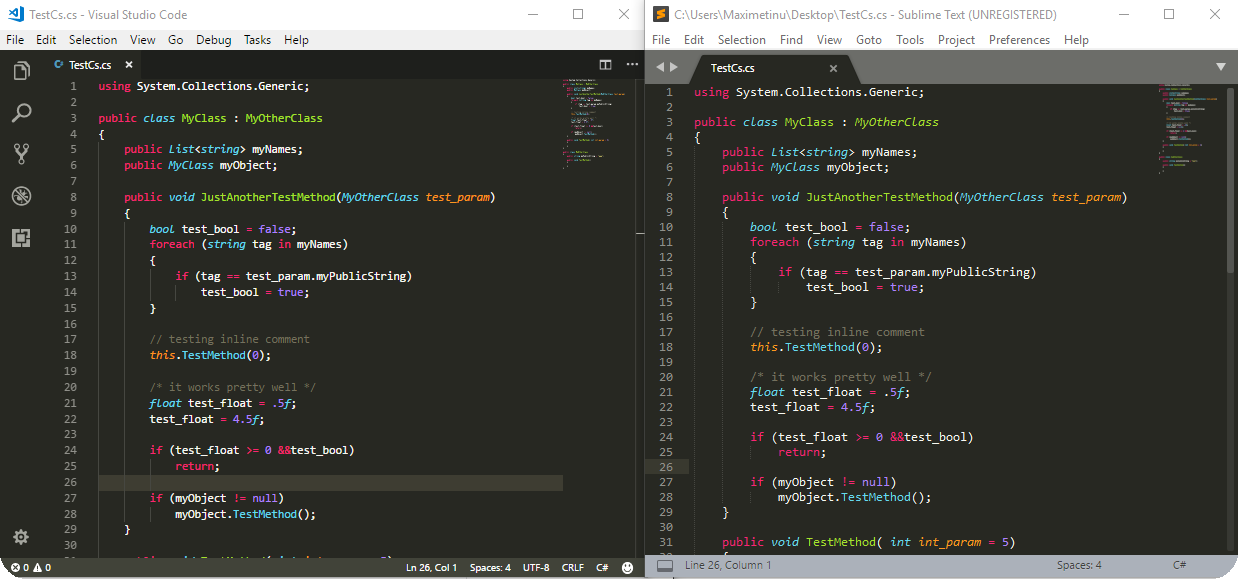 This theme vs Sublime Text's