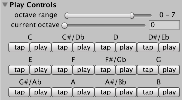 Play Controls editor UI section