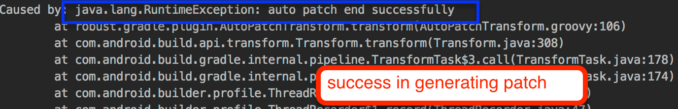 Success in generating patch