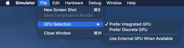GPU selection