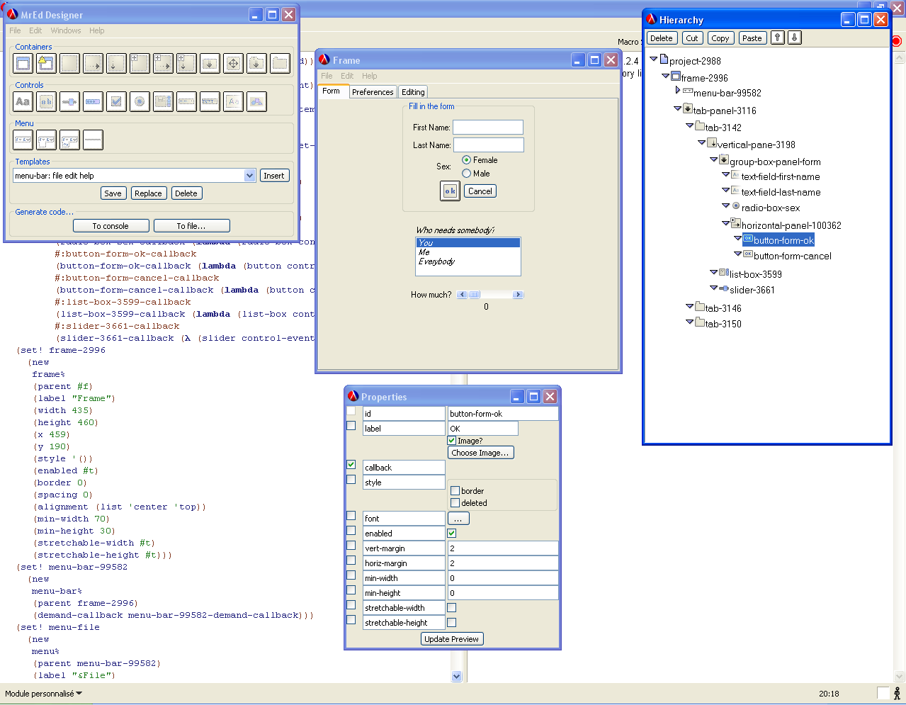 General view with generated code in background