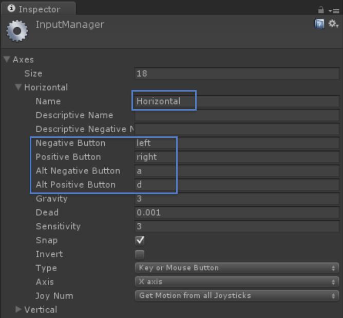Input Manager Horizontal
