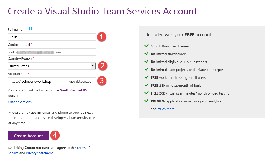 Creating a New VSTS Account