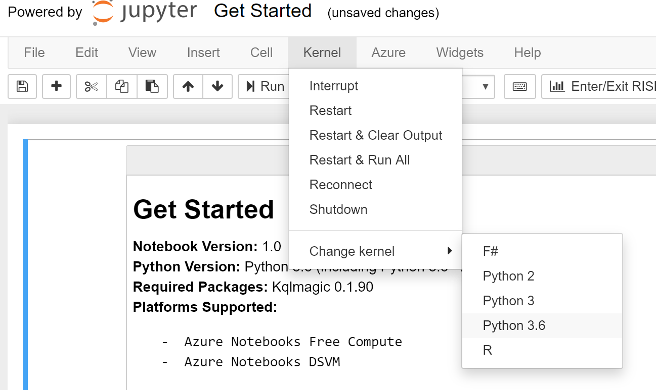 The page menu is expanded to the Kernel menu item and the change kernel with Python 3.6 is selected