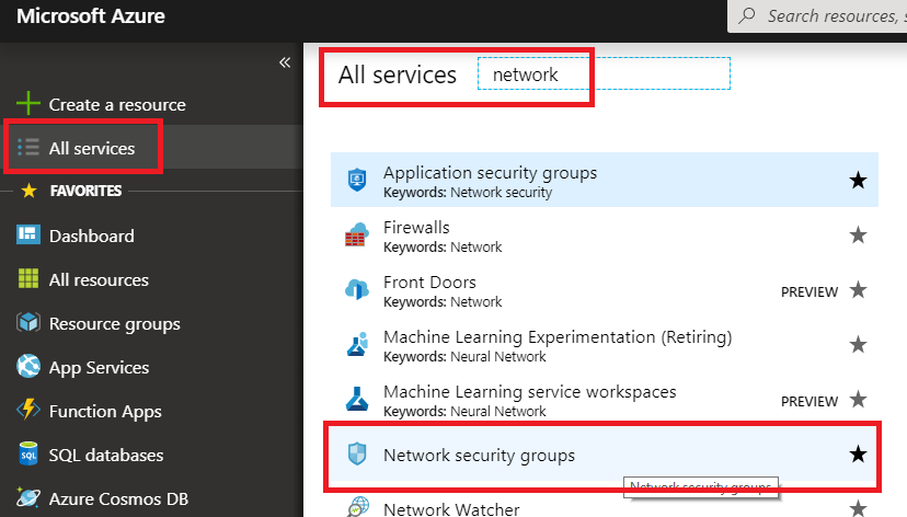 Network security groups is highlighted on the left side of the Azure portal, and paw-1-nsg is highlighted to the right.